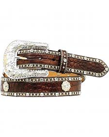 Nocona Croc Print Studded Concho Leather Belt