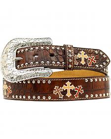 Nocona Triple Cross Embroidery Studded Leather Belt