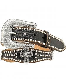 Nocona Scalloped Cross Concho Studded Rhinestone Belt