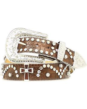 Nocona Cross Concho Studded Leather Belt