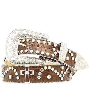Nocona Cross Concho Studded Leather Belt