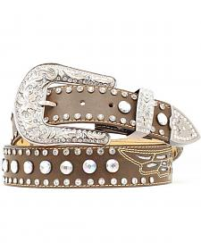 Nocona Rhinestone Studded Wing Inlay Leather Belt
