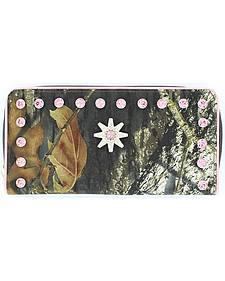 Blazin Roxx Mossy Oak Pink Rhinestone Spur Rowel Concho Wallet