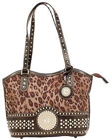 Blazin Roxx Leopard Print Round Concho Shoulder Bag