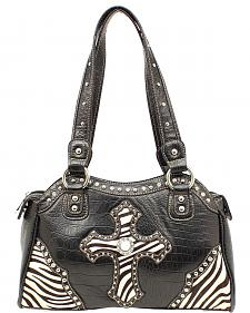 Blazin Roxx Embellished Zebra Cross Satchel