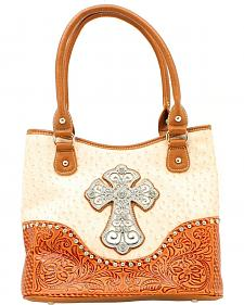 Blazin Roxx Ostrich Print Cross Concho Shoulder Bag
