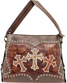 Blazin Roxx Embroidered Crosses Shoulder Bag
