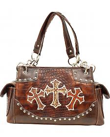Blazin Roxx Embroidered Crosses Satchel Bag