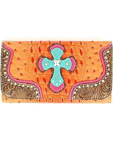 Blazin Roxx Croc Print Cross Overlay Wallet