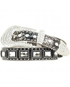 Blazin Roxx Square Rhinestone Studded Leather Belt