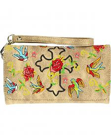 Blazin Roxx Cross, Rose & Bird Embroidered Wallet