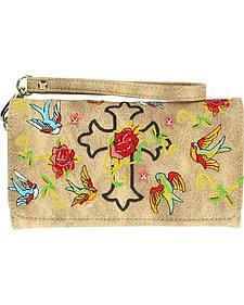 Blazin Roxx Cross, Rose & Bird Embroidered Wallet