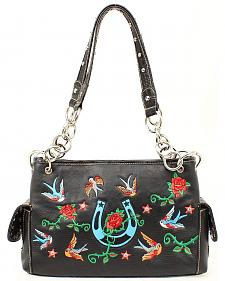 Blazin Roxx Floral Embroidered Satchel Handbag