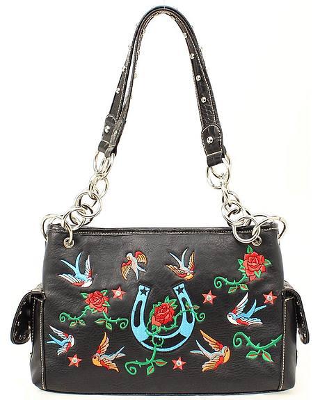 Blazin Roxx Floral Embroidered Satchel Handbag