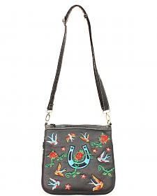 Blazin Roxx Horseshoe & Rose Embroidered Crossbody Bag