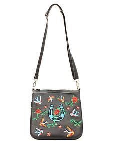 Blazin Roxx Horseshoe & Rose Embroidered Crossbody Bag
