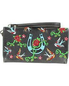 Blazin Roxx Horseshoe, Rose & Bird Embroidered Wallet