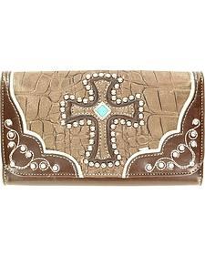 Blazin Roxx Embellished Cross Croc Print Wallet