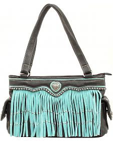 Blazin Roxx Turquoise Fringe Heart Concho Satchel Bag