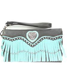 Blazin Roxx Heart Concho Fringe Wallet Clutch