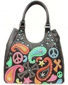 Blazin Roxx Paisley, Peace Sign & Cross Overlay Bucket Bag