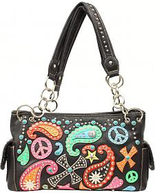 Blazin Roxx Paisley & Peace Sign Overlay Satchel Bag