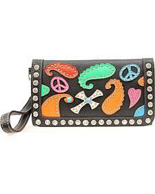 Blazin Roxx Colorful Paisley Patch Wallet Clutch