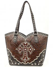 Blazin Roxx Boot Top Cross Overlay Tooled Tote Bag
