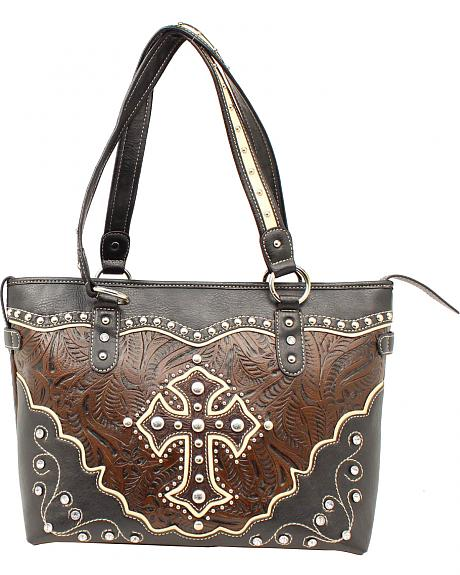 Blazin Roxx Cross Overlay Tooled Tote Bag