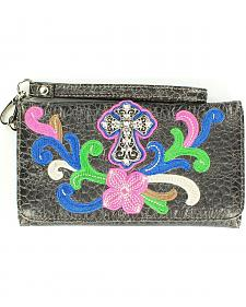 Blazin Roxx Cross Concho Flower Embroidered Wallet