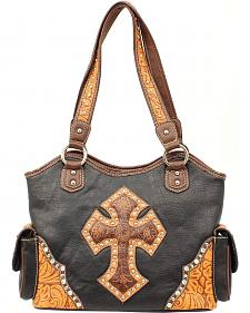 Blazin Roxx Tooled Cross Overlay Shoulder Bag