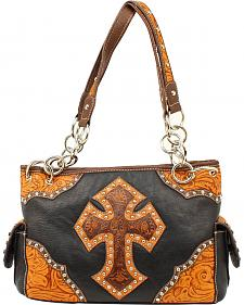 Blazin Roxx Tooled Cross Satchel Bag