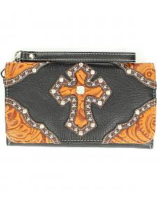 Blazin Roxx Tooled Cross Overlay Wallet