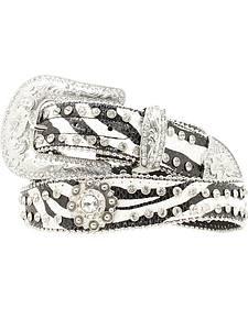 Blazin Roxx Zebra Print Rhinestone Concho Belt