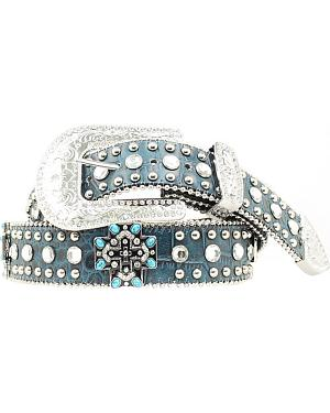 Blazin Roxx Turquoise Cross Studded Leather Belt