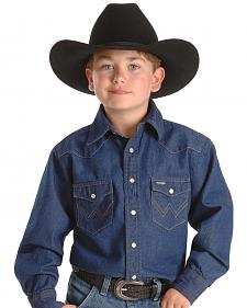 Wrangler Boys' Denim Western Shirt - 2-20