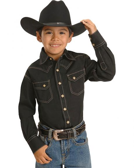 Boys' Black Topstitch Western Shirt - 5-16