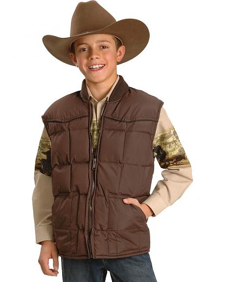 Ely Walker Boys' Quilted Nylon Vest with Piping - 5-16