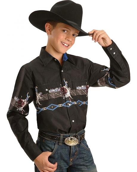 Ely Walker Boys' Bull Riding Border Western Shirt - 4-12