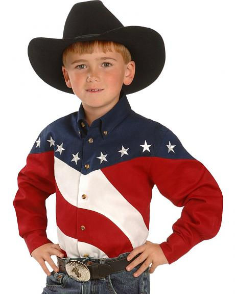 Boys' Stars & Stripes Western Shirt - 5-16