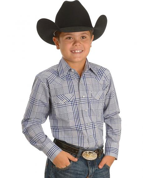 Boys' Blue & White Plaid Western Shirt - 5-16