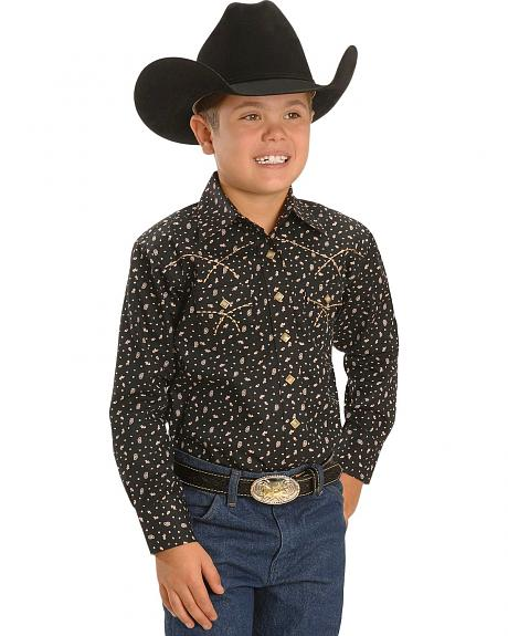 Boys' Black & Cream Paisley Print Western Shirt - 5-16