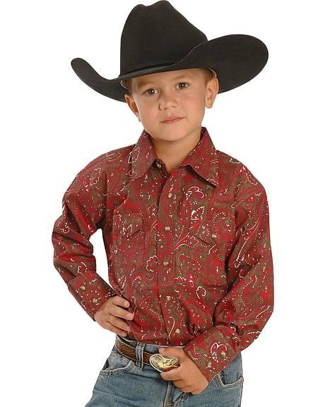 Boys' Red & Brown Paisley Print Wetern Shirt - 5-16