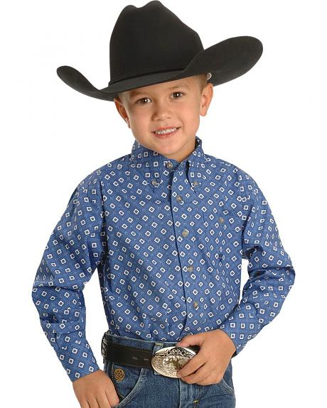 Wrangler Boys' 20X Blue Diamond Western Shirt - 5-16