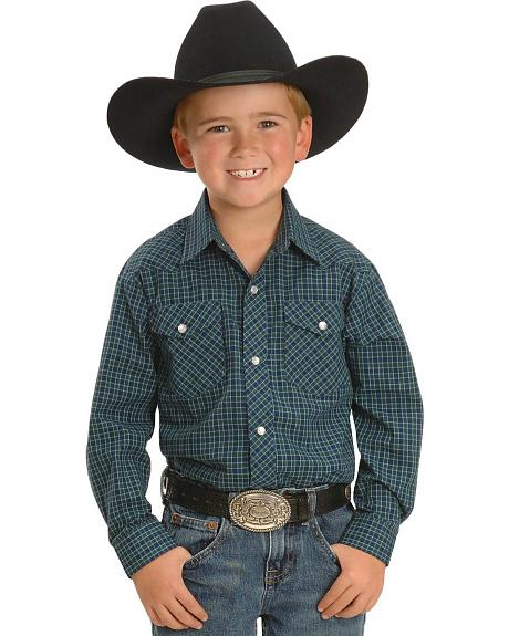 Roper Boys' Plaid Western Shirt  - 5-16