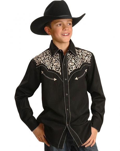 Boys' Heavy Embroidered Western Shirt - 6-16