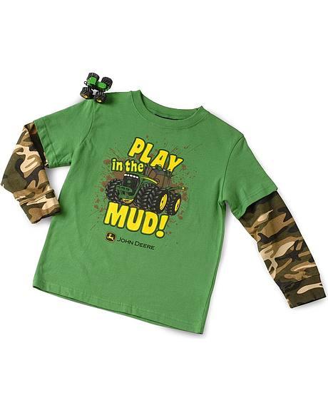 John Deere Boys' Play in the Mud Layered Tee & Toy - 4-7