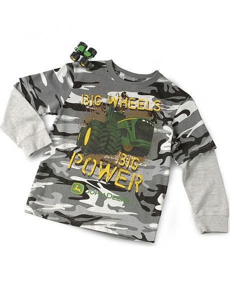 John Deere Boys' Grey Camo Big Wheels Tee & Toy - 4-7