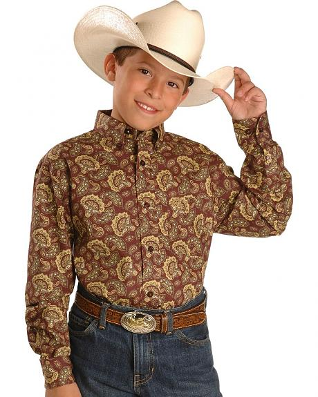 Cinch �  Boys' Burgundy Paisley Shirt - 5-16
