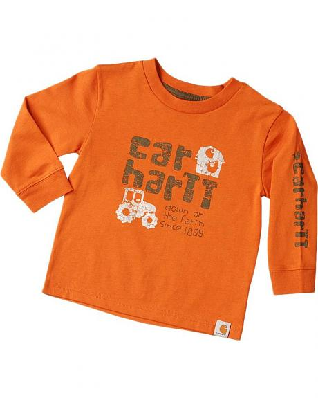Carhartt Toddlers Boys' Down on Farm Logo Long Sleeve Shirt - 2T - 4T
